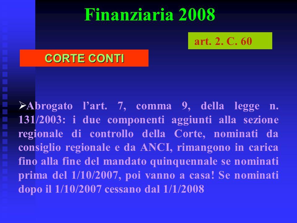 Finanziaria 2008 art. 2. C. 60 CORTE CONTI