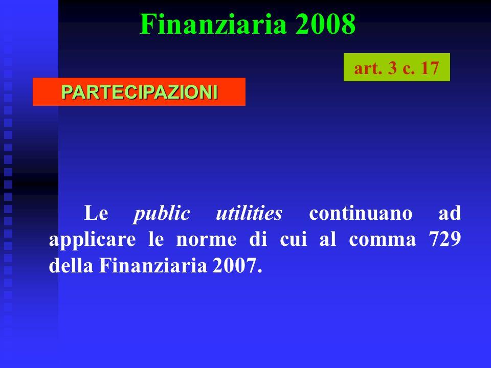 Finanziaria 2008 art. 3 c. 17 PARTECIPAZIONI