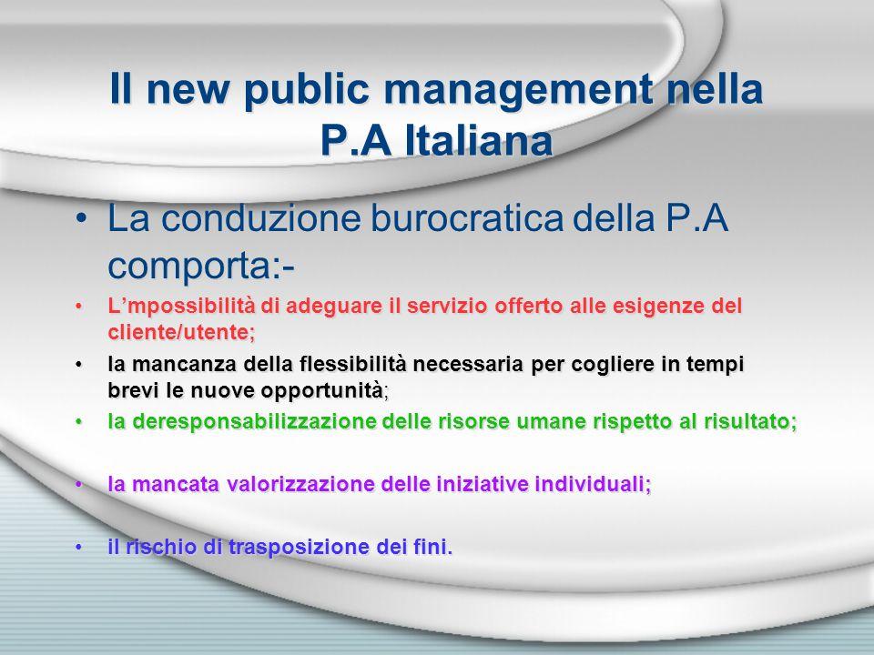 Il new public management nella P.A Italiana