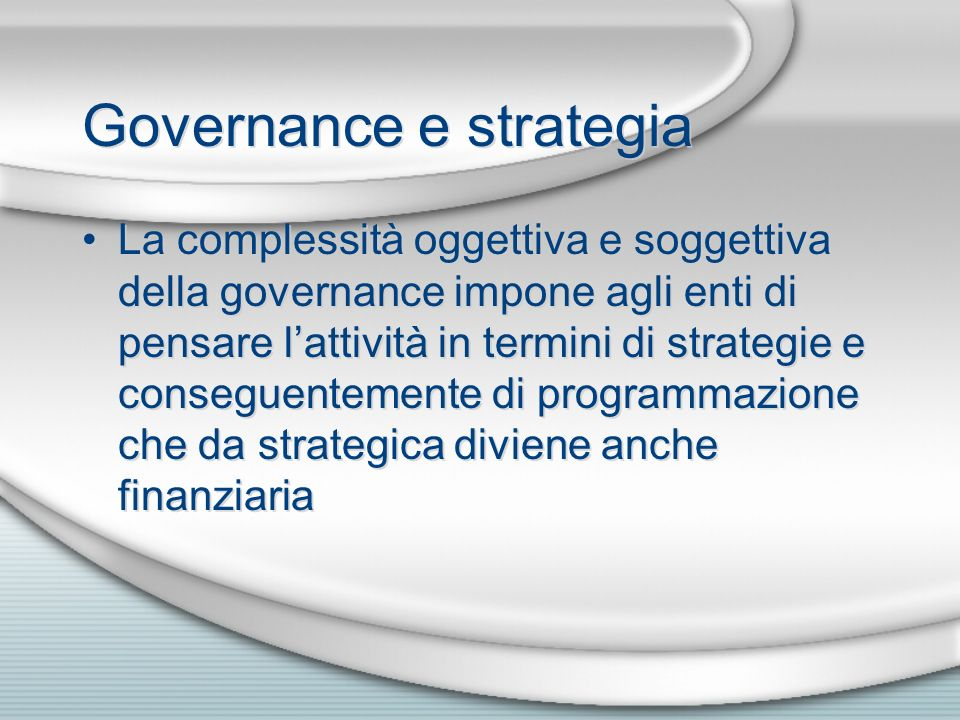 Governance e strategia
