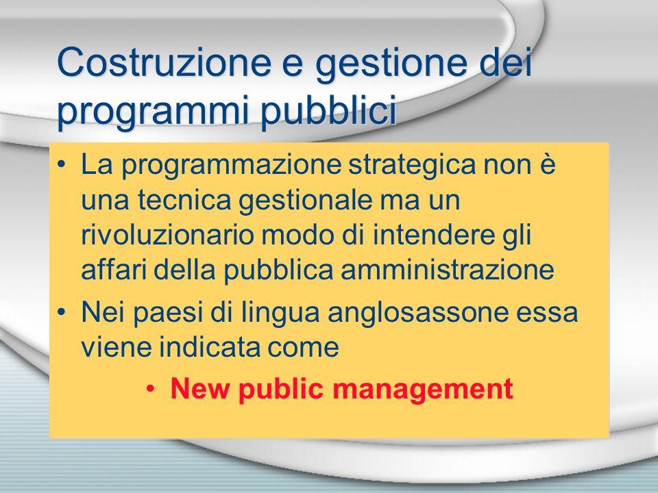 Costruzione e gestione dei programmi pubblici
