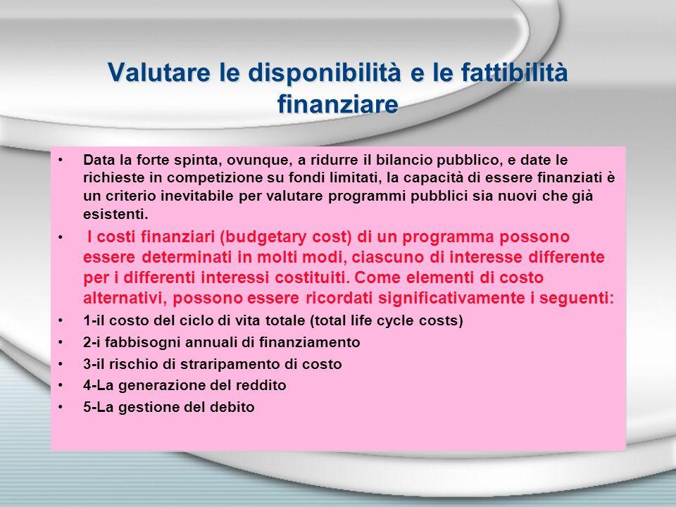 Valutare le disponibilità e le fattibilità finanziare