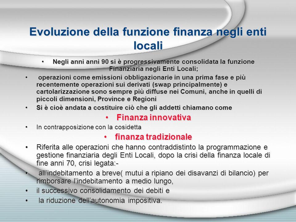 Evoluzione della funzione finanza negli enti locali