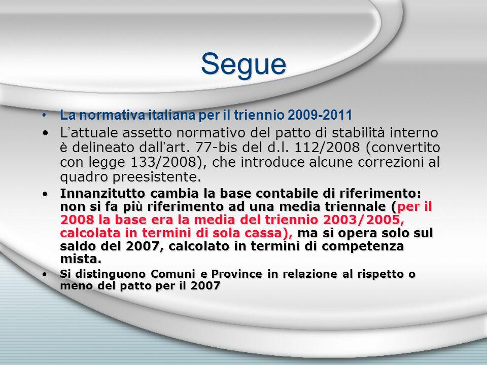 Segue La normativa italiana per il triennio 2009-2011