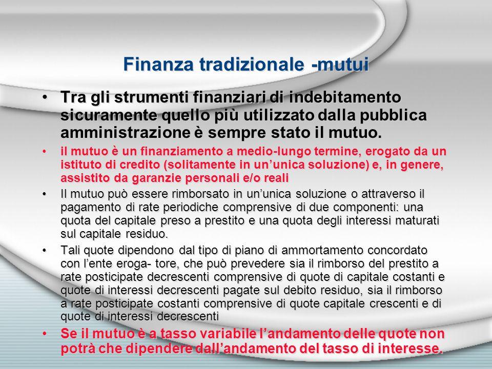 Finanza tradizionale -mutui
