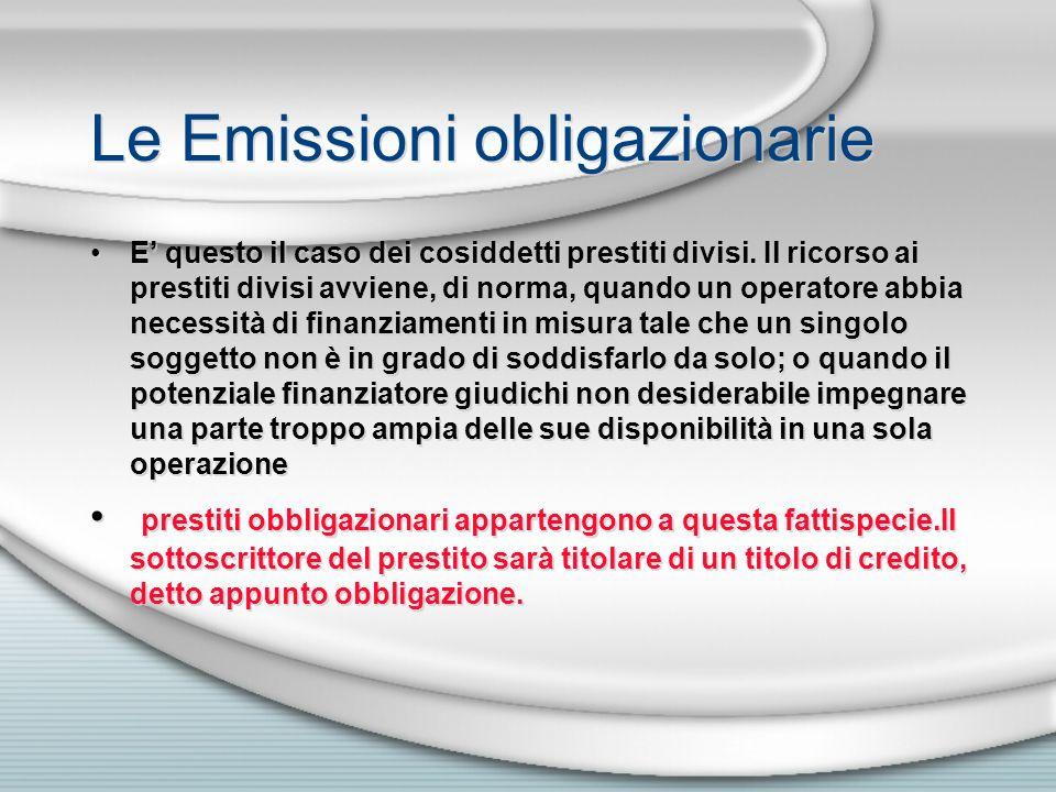 Le Emissioni obligazionarie