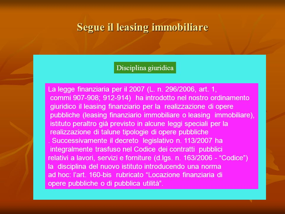 Segue il leasing immobiliare