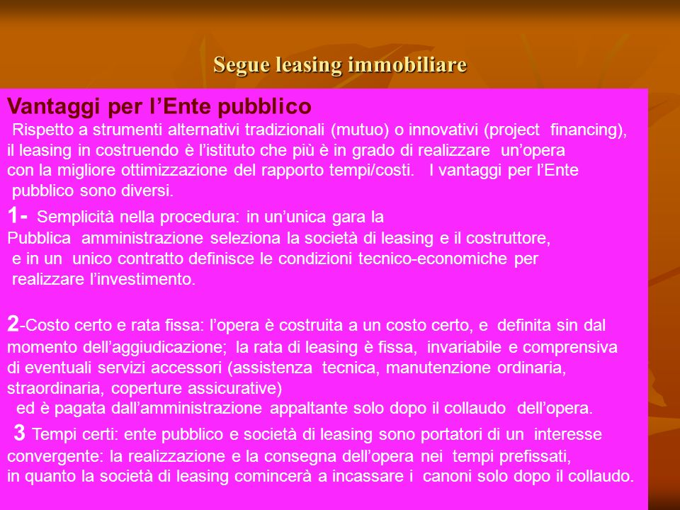 Segue leasing immobiliare