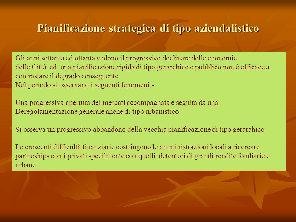 Pianificazione strategica di tipo aziendalistico