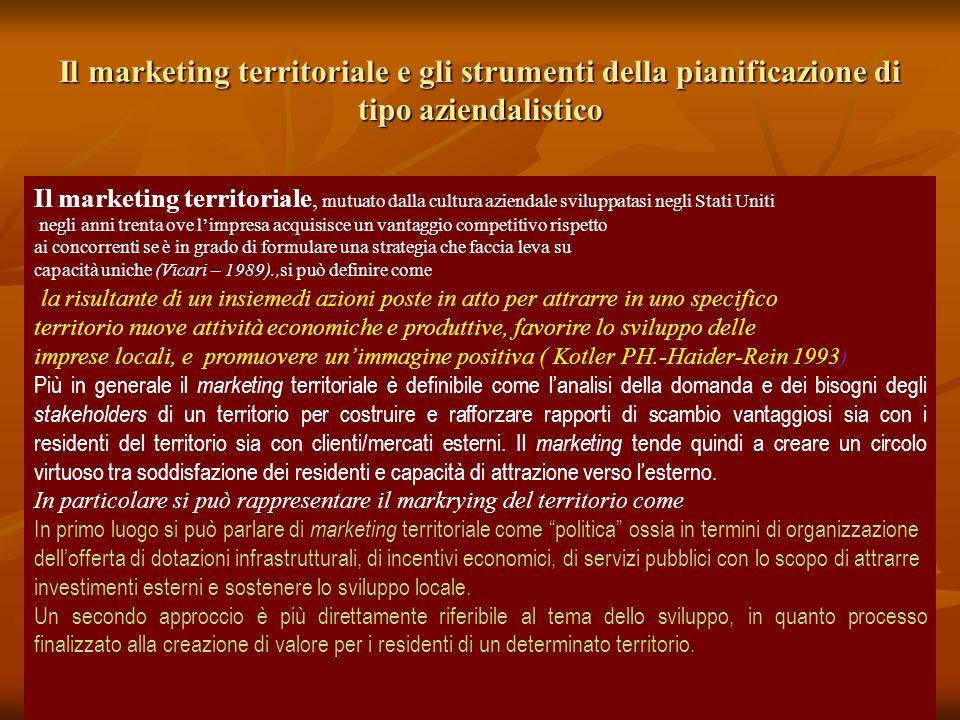 Il marketing territoriale e gli strumenti della pianificazione di tipo aziendalistico