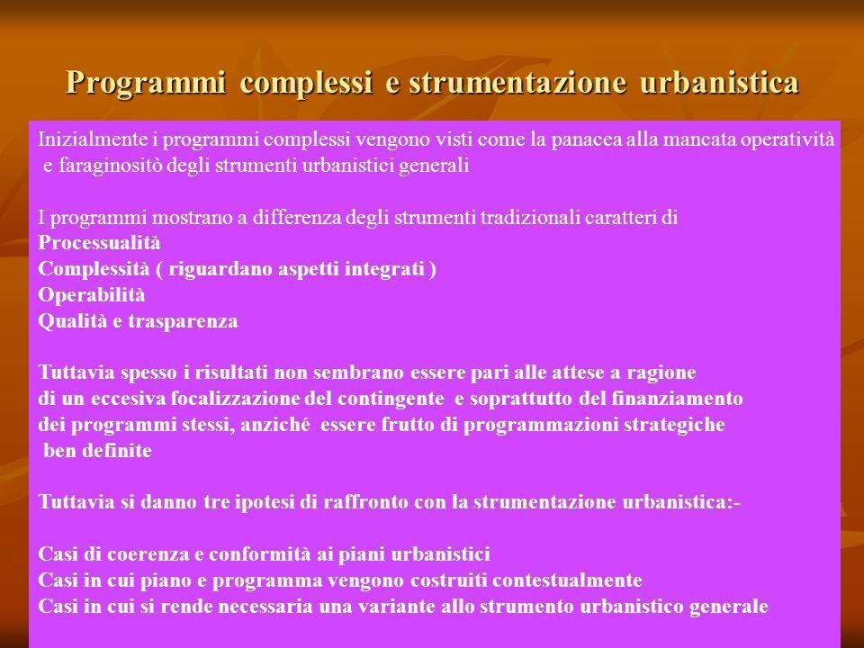 Programmi complessi e strumentazione urbanistica