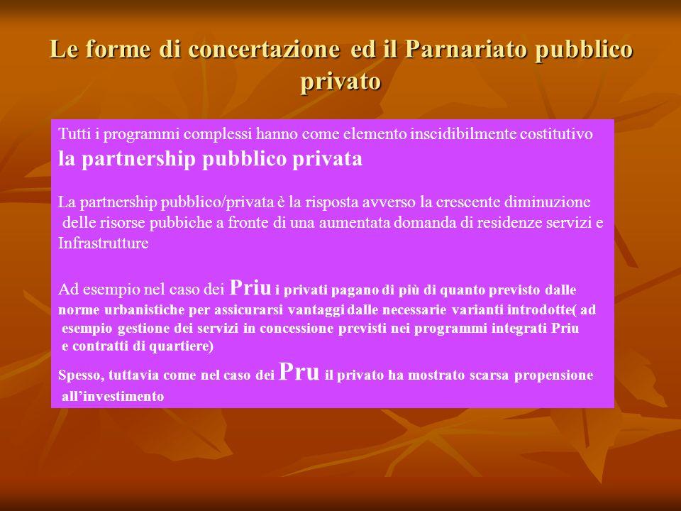 Le forme di concertazione ed il Parnariato pubblico privato