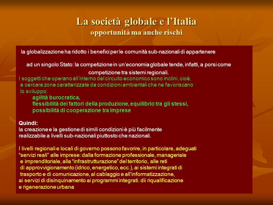 La società globale e l'Italia opportunità ma anche rischi