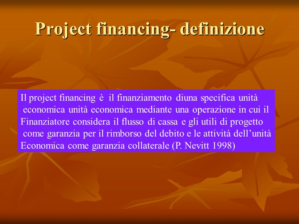 Project financing- definizione