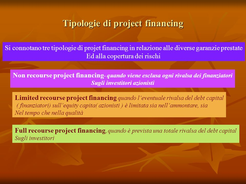 Tipologie di project financing