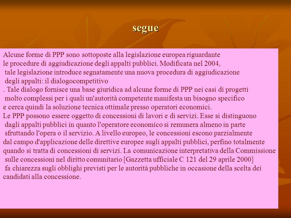 segue Alcune forme di PPP sono sottoposte alla legislazione europea riguardante.