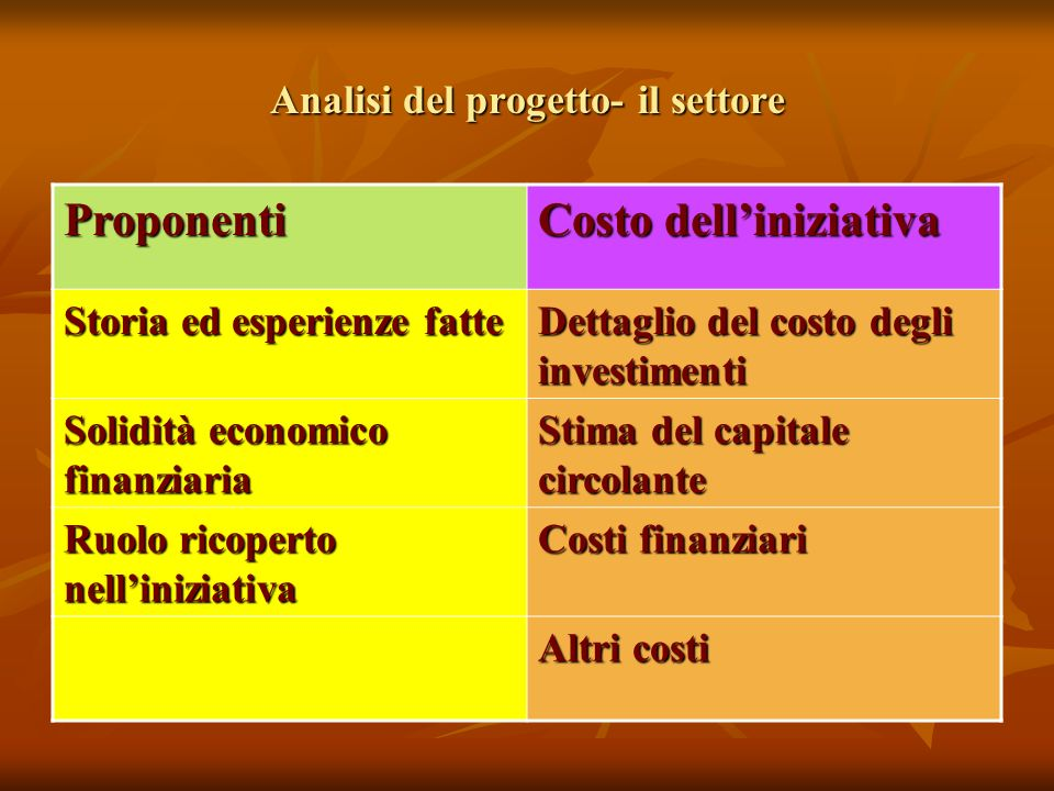 Analisi del progetto- il settore