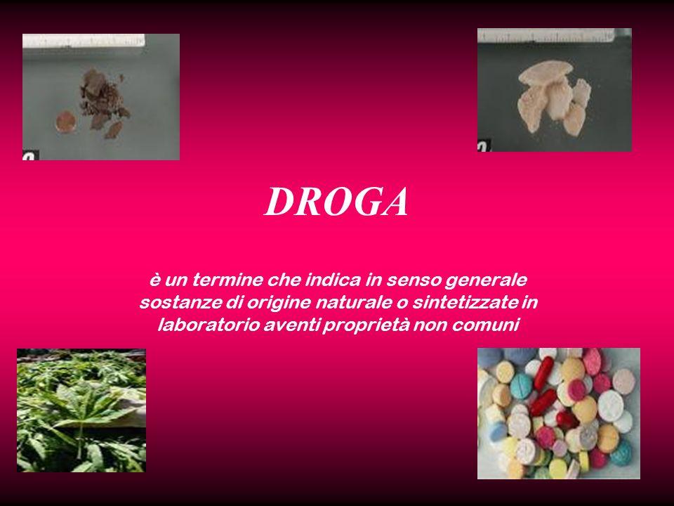 DROGA è un termine che indica in senso generale sostanze di origine naturale o sintetizzate in laboratorio aventi proprietà non comuni.
