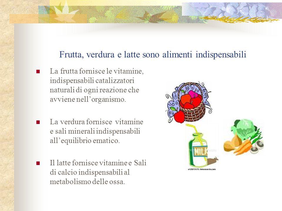 Frutta, verdura e latte sono alimenti indispensabili