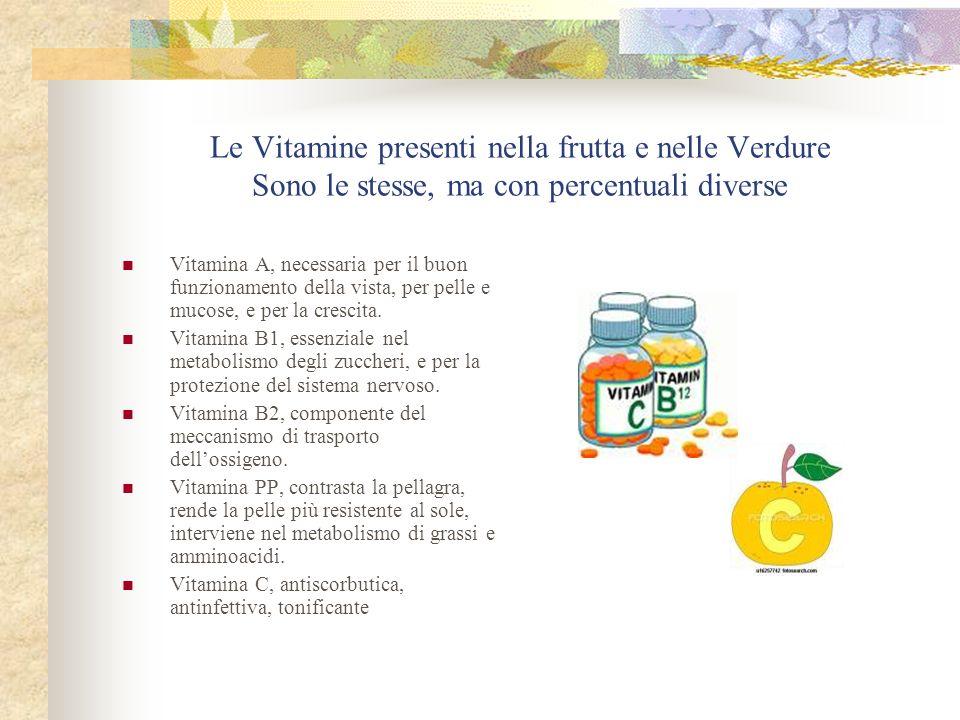 Le Vitamine presenti nella frutta e nelle Verdure Sono le stesse, ma con percentuali diverse