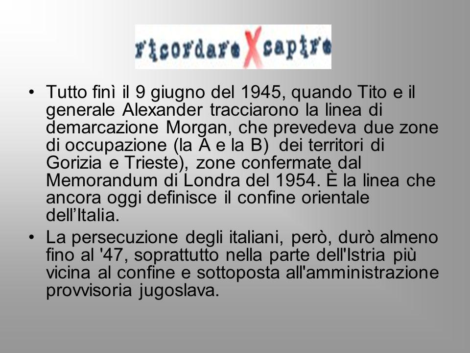 Tutto finì il 9 giugno del 1945, quando Tito e il generale Alexander tracciarono la linea di demarcazione Morgan, che prevedeva due zone di occupazione (la A e la B) dei territori di Gorizia e Trieste), zone confermate dal Memorandum di Londra del 1954. È la linea che ancora oggi definisce il confine orientale dell'Italia.