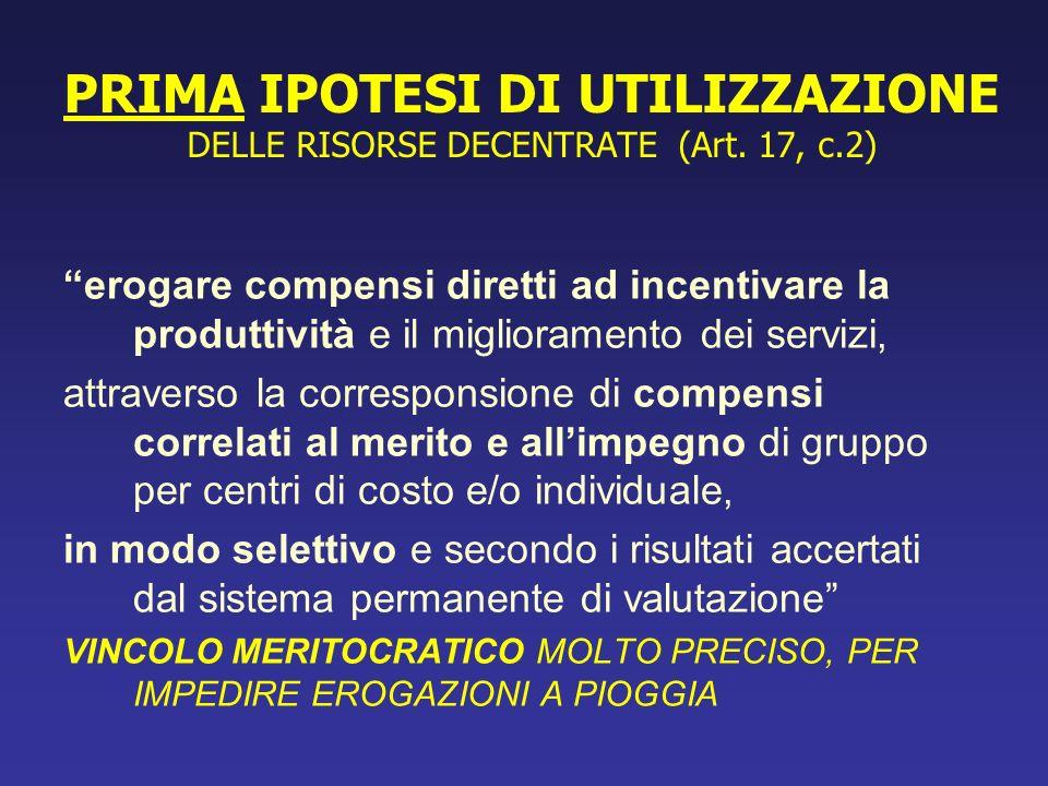 PRIMA IPOTESI DI UTILIZZAZIONE DELLE RISORSE DECENTRATE (Art. 17, c.2)