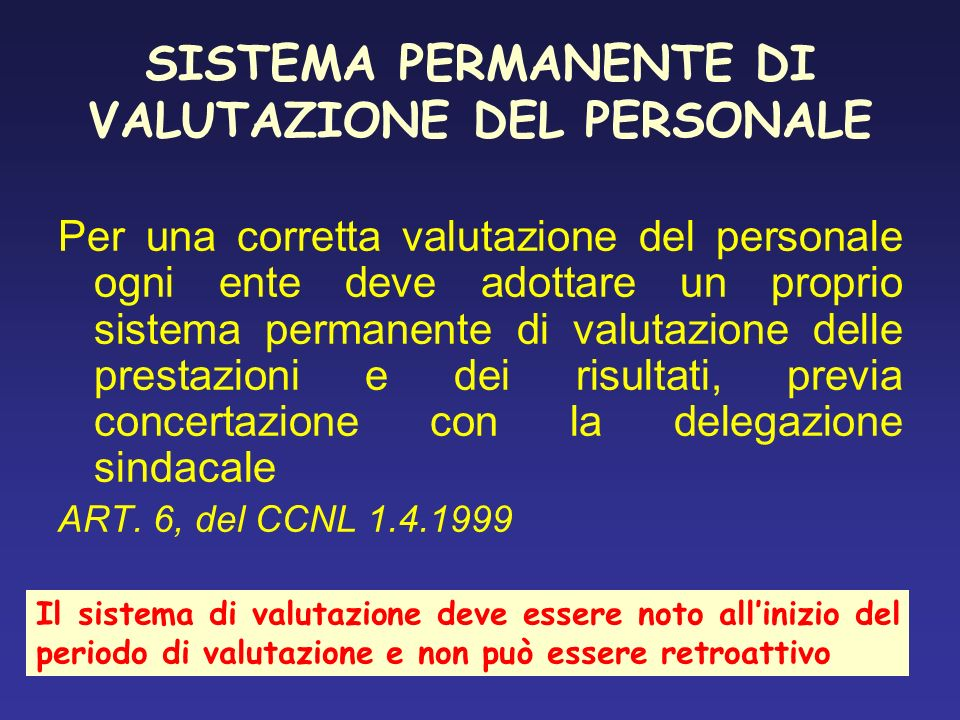 SISTEMA PERMANENTE DI VALUTAZIONE DEL PERSONALE