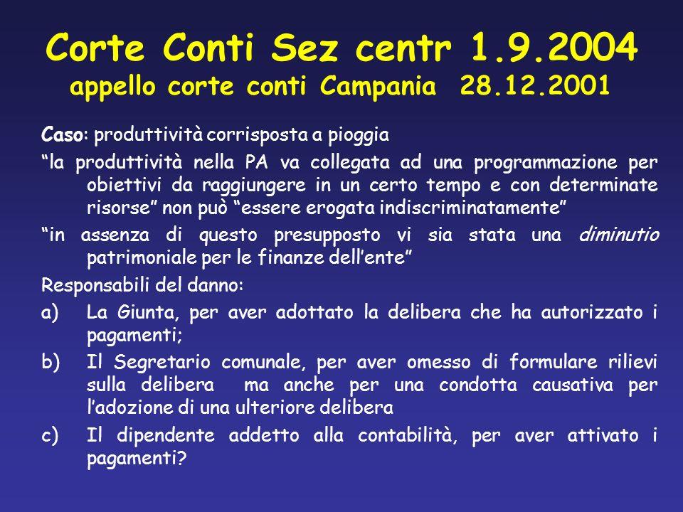 Corte Conti Sez centr 1.9.2004 appello corte conti Campania 28.12.2001
