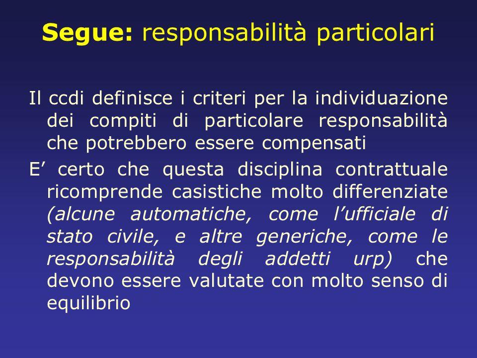 Segue: responsabilità particolari