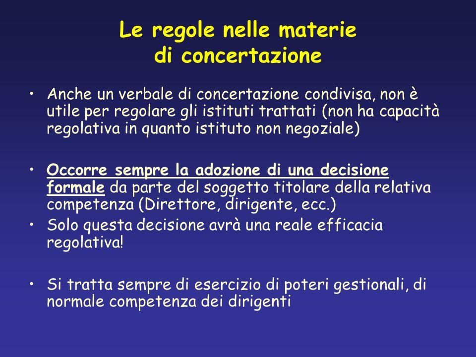 Le regole nelle materie di concertazione