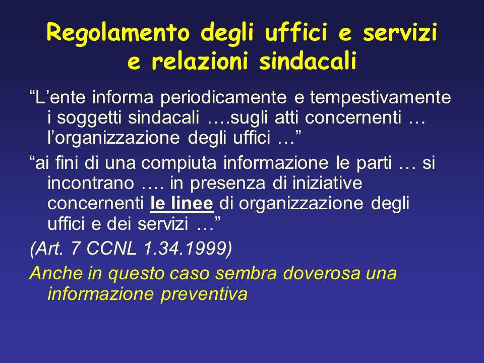 Regolamento degli uffici e servizi e relazioni sindacali