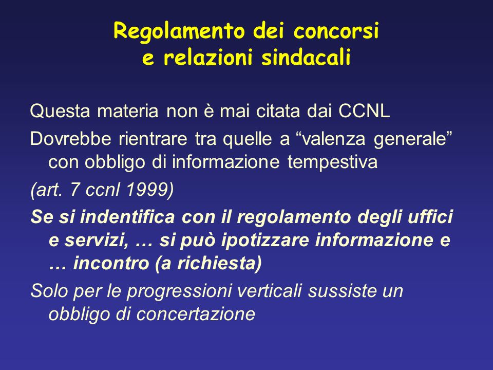 Regolamento dei concorsi e relazioni sindacali