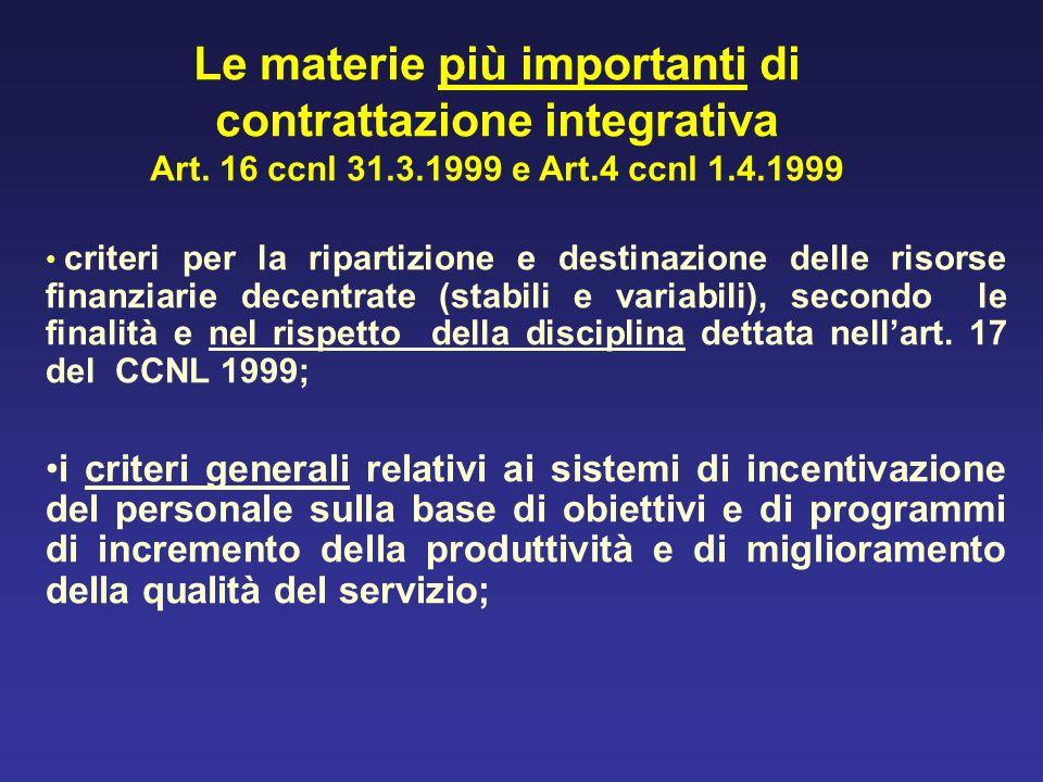 Le materie più importanti di contrattazione integrativa