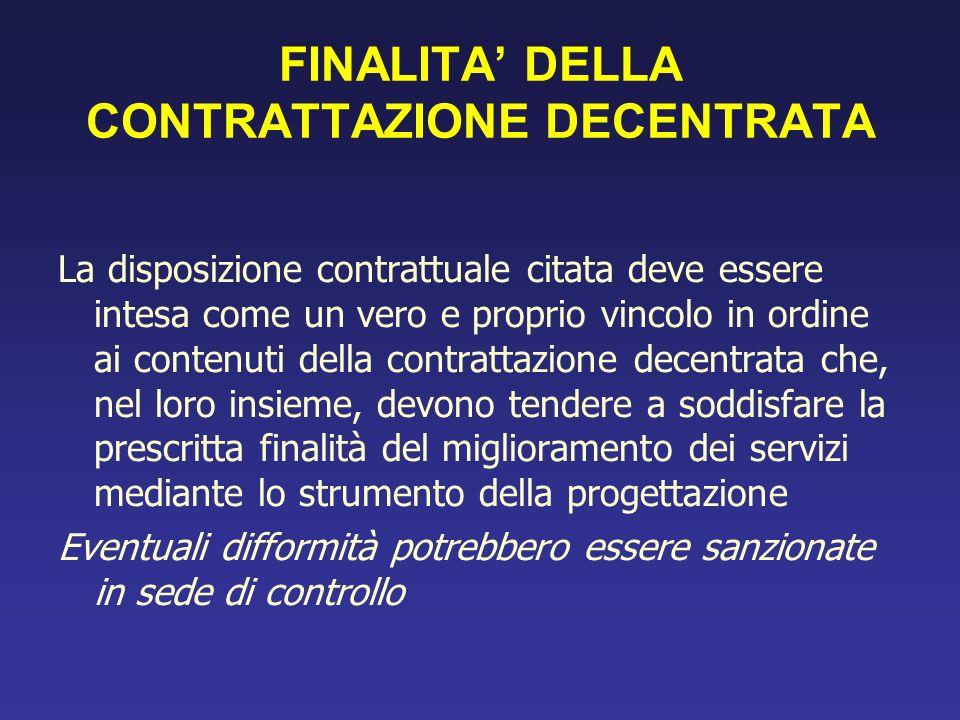 FINALITA' DELLA CONTRATTAZIONE DECENTRATA