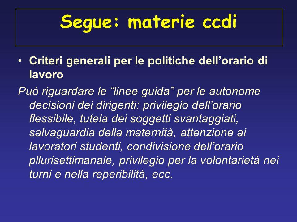 Segue: materie ccdi Criteri generali per le politiche dell'orario di lavoro.