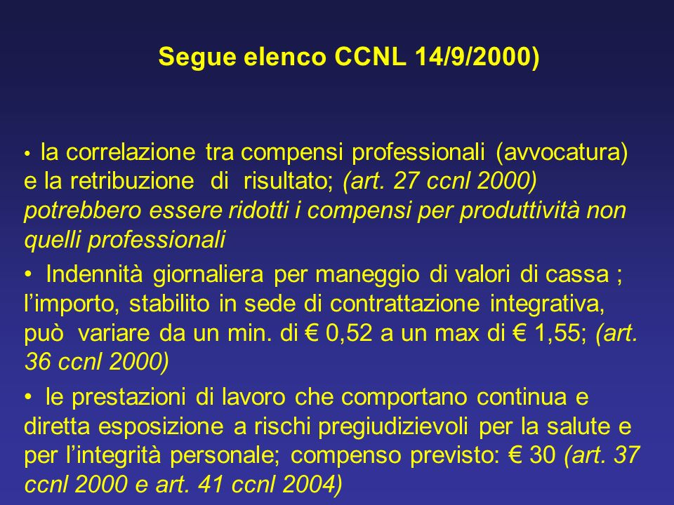 Segue elenco CCNL 14/9/2000)