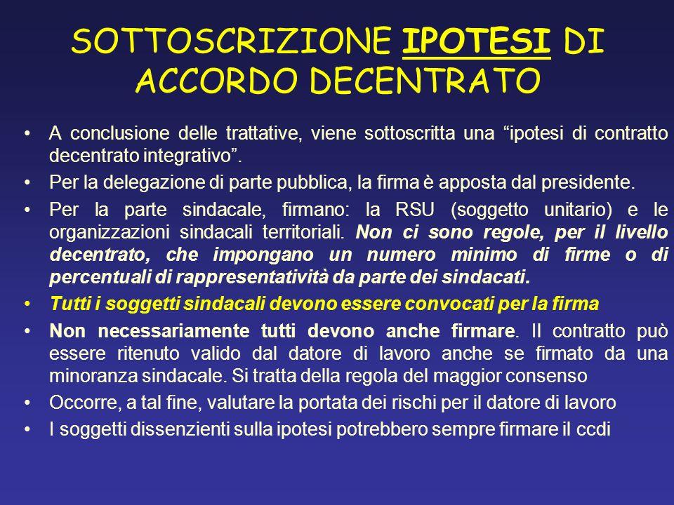 SOTTOSCRIZIONE IPOTESI DI ACCORDO DECENTRATO