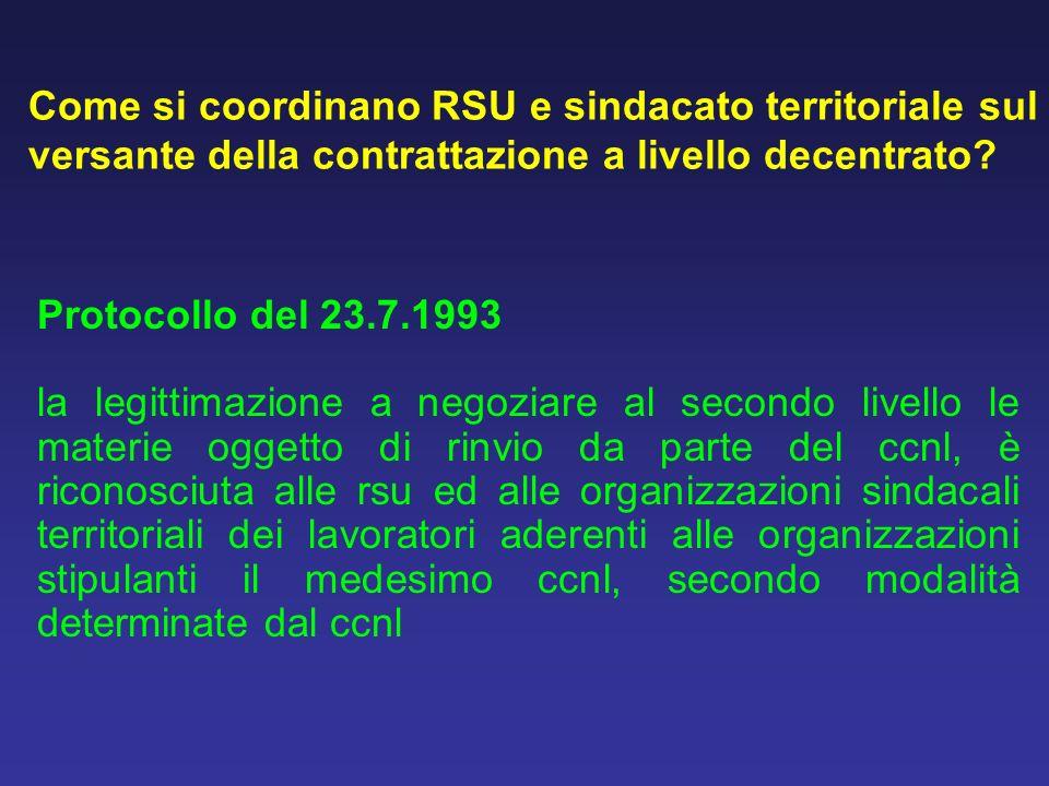 Come si coordinano RSU e sindacato territoriale sul versante della contrattazione a livello decentrato