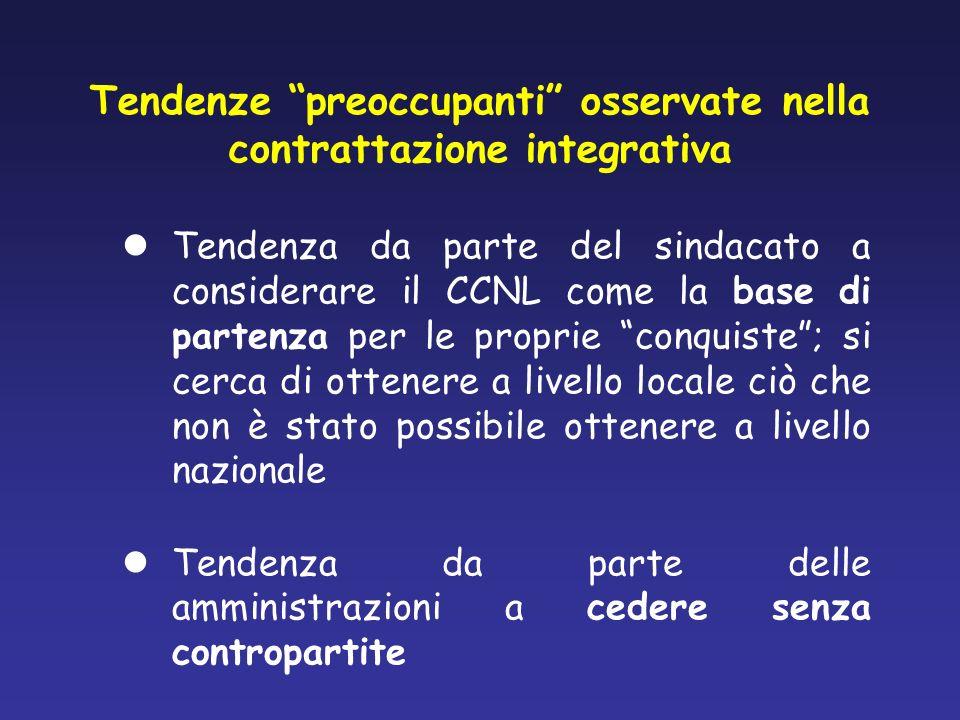 Tendenze preoccupanti osservate nella contrattazione integrativa