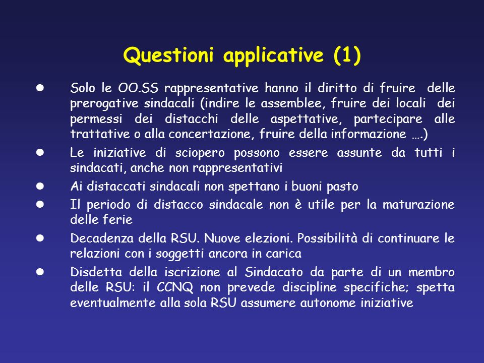 Questioni applicative (1)