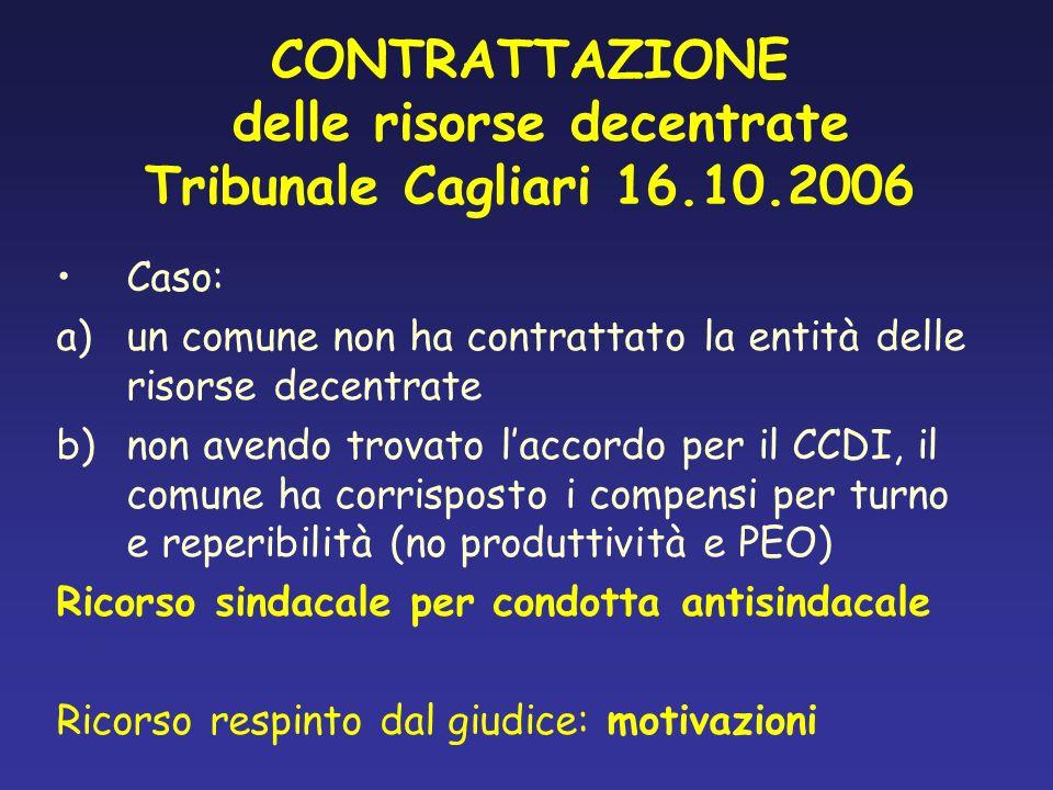 CONTRATTAZIONE delle risorse decentrate Tribunale Cagliari 16.10.2006