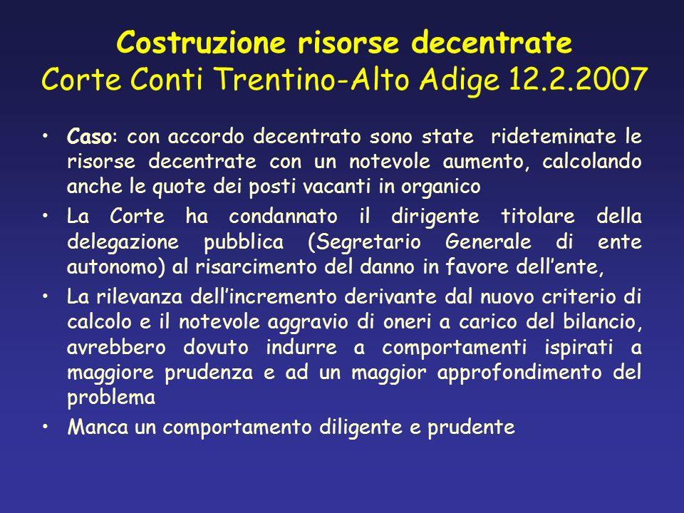 Costruzione risorse decentrate Corte Conti Trentino-Alto Adige 12. 2