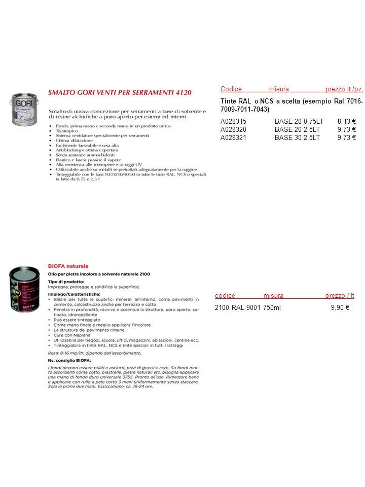 Codice misura prezzo lt /pz.