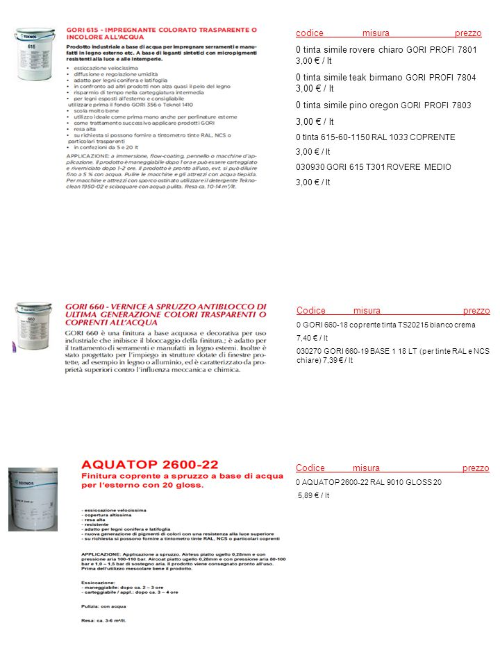 0 tinta simile rovere chiaro GORI PROFI 7801 3,00 € / lt