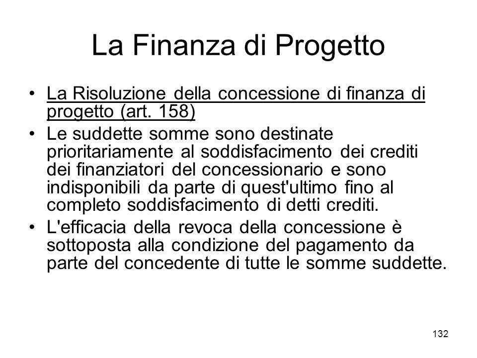 La Finanza di Progetto La Risoluzione della concessione di finanza di progetto (art. 158)