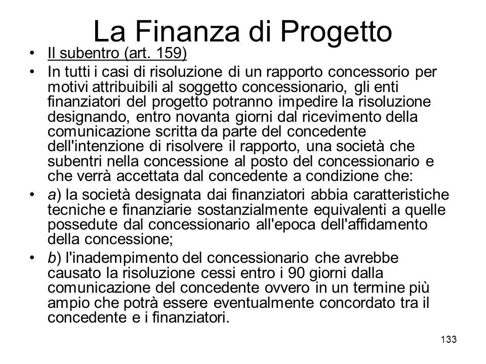 La Finanza di Progetto Il subentro (art. 159)