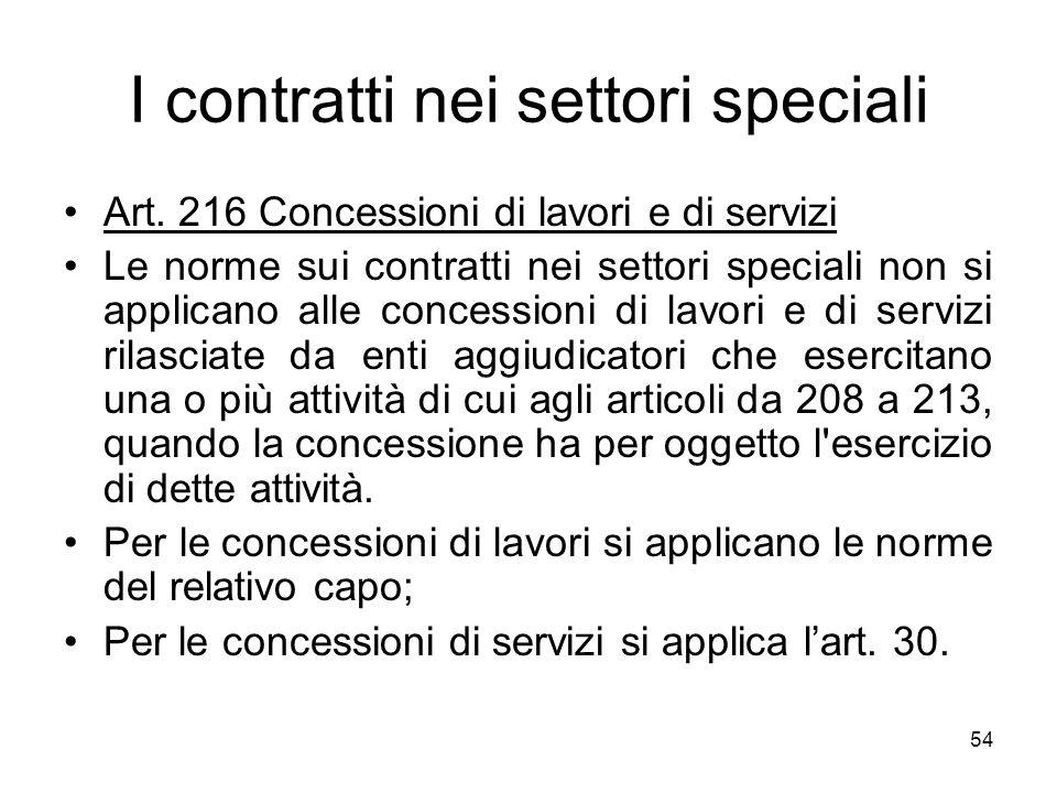 I contratti nei settori speciali