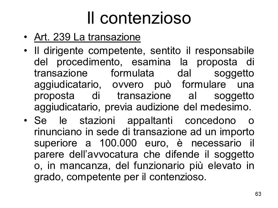 Il contenzioso Art. 239 La transazione