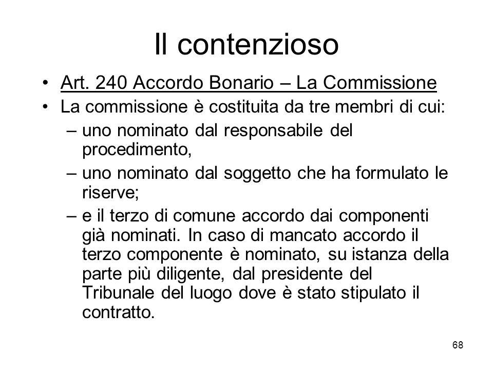 Il contenzioso Art. 240 Accordo Bonario – La Commissione