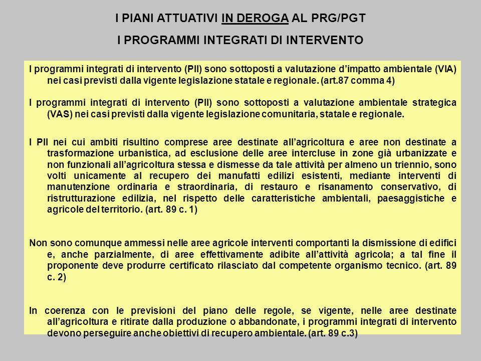 I PIANI ATTUATIVI IN DEROGA AL PRG/PGT